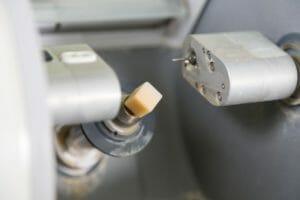 A ceramic block in a milling machine.